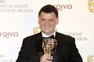 Winner of the Special Award, Steven Moffat poses in front of the winners boards